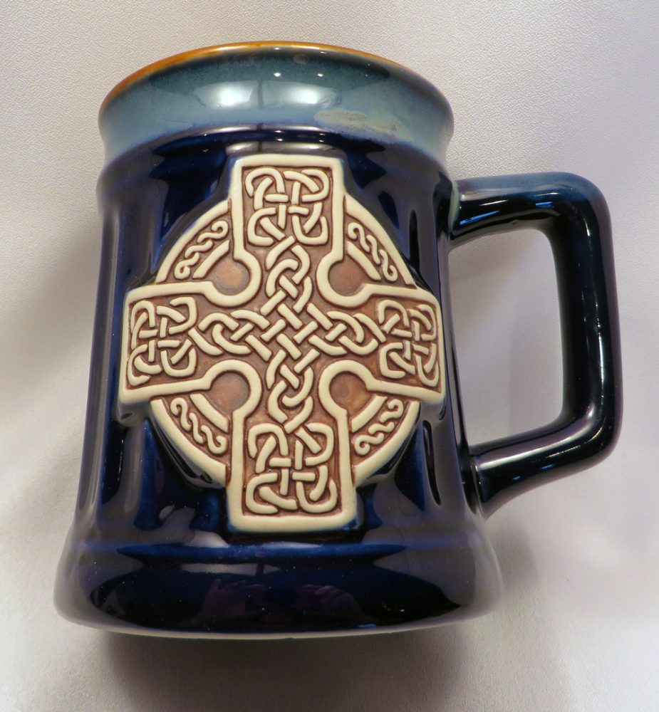 Blue Celtic Cross Stoneware Mug front