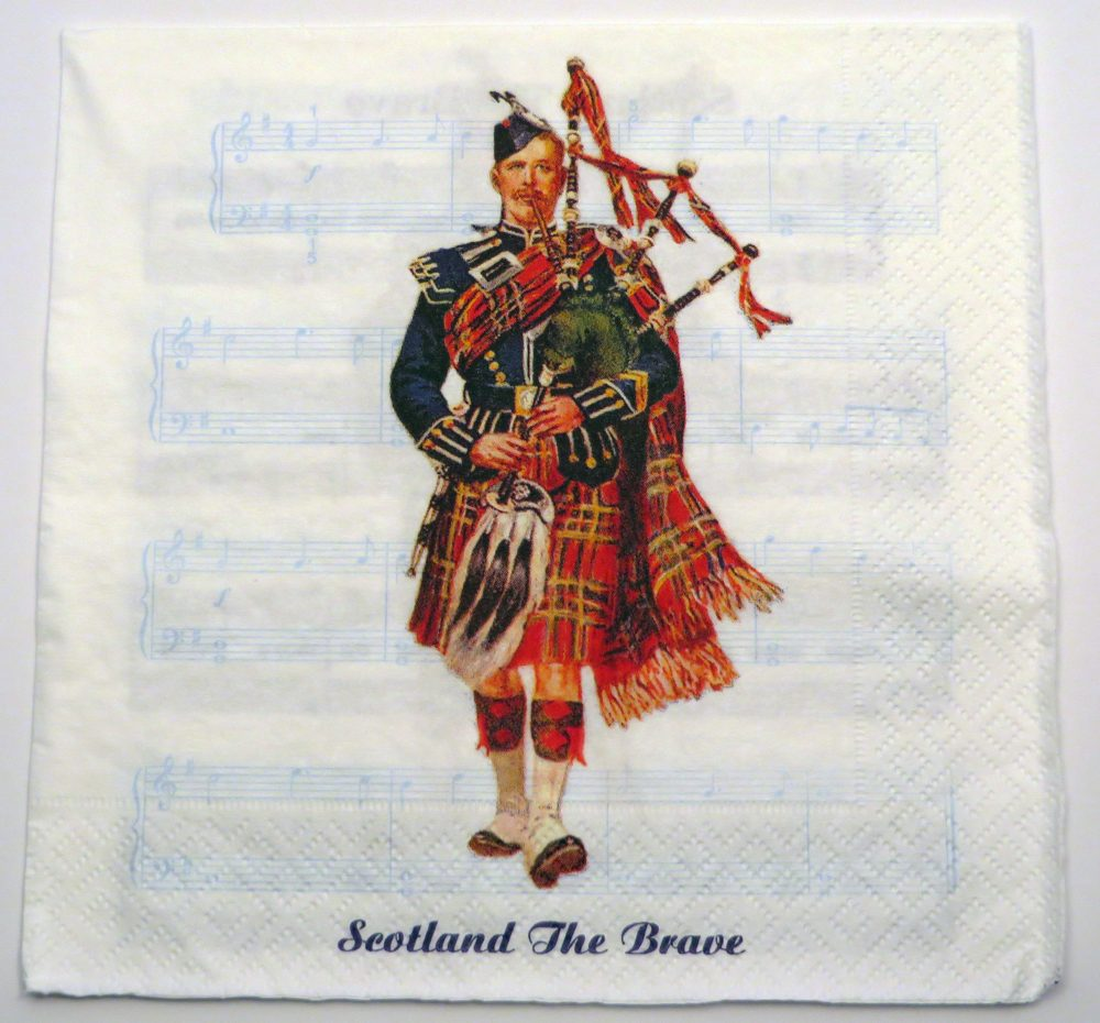 Scottish Piper and Music Napkin1